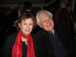 Marjorie Wallace and legal writer Marcel Berlins at the 2009 Christmas party of El Vino's media group held at Chelsea Arts Club.